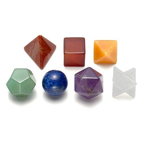CrystalTears - Juego de geometría sagrada de 7 piedras, amatista natural, sólido platónico, calidad superior Merkaba Star Atractiva limpieza de la vida vital, curación de chakra, equilibrio de energía y rejilla de cristal