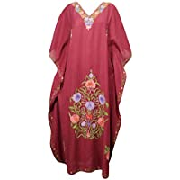 Mogul Interior Women Caftan Maxi Dress Maroon Embroidered Bohemian House Kaftan One Size