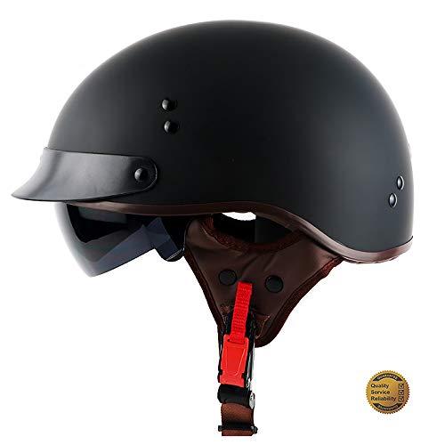YLFC Motorradhelm, Helmet Retro Bobber Biker Jet-Helm Moto Helmetsrrad-Helm Roller-Helm Cruiser -Helm Chopper Pilot Scooter-Helm · ECE Zertifiziert