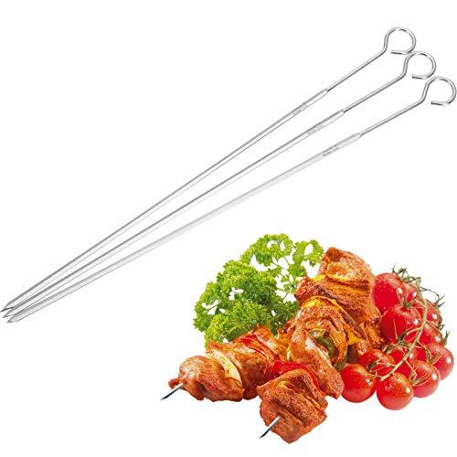 Westmark 3 Grill- und Bratspieße, Spieß-Länge: 37 cm, Rostfreier Edelstahl, Schaschlikspieße, Silber, - Grill Westmark
