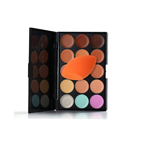 Pure Vie® 1 Pcs 1 Éponge Fondation Puff + 15 Couleurs Palette de Maquillage Correcteur Camouflage Crème Cosmétique Set - Convient Parfaitement pour une Utilisation Professionnelle ou à la Maison