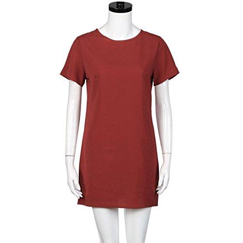 Robe Femme, Oyedens Femmes Manche Courte Soir Robe Rouge