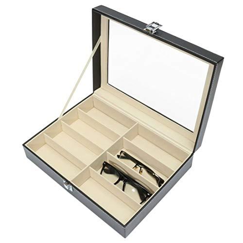 Togames-DE Praktische Design 8 Grids Sonnenbrille Aufbewahrungskoffer Luxus Pu-Leder Männer Frauen Sonnenbrille Shop Display Box Fall