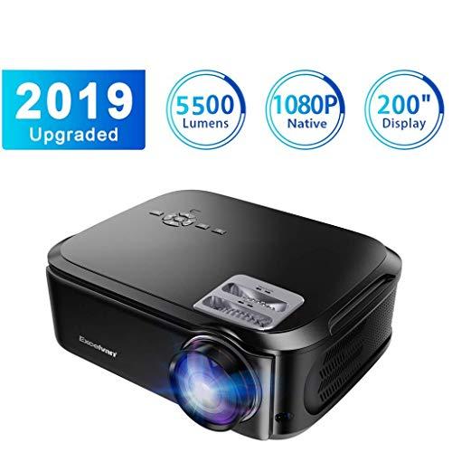 """Projecteur Excelvan Vidéoprojecteur 5500 Lumens Natif 1080P USB/VGA/SD/HDMI Résolution 1920*1080P Full HD LCD 200"""" Contraste Écran 1500: 1 pour Maison et Bureau Compatible avec TV Box PS4 PC Mobile"""