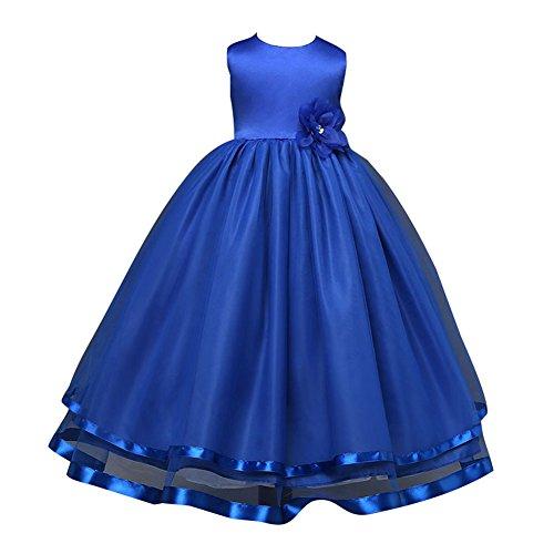 online retailer 26816 35601 Senza Maniche Vestito Principessa Pizzo Abito Da Bambine Ragazze Abiti  Matrimonio Tutu Cerimonia Vestito Blu scuro/100cm
