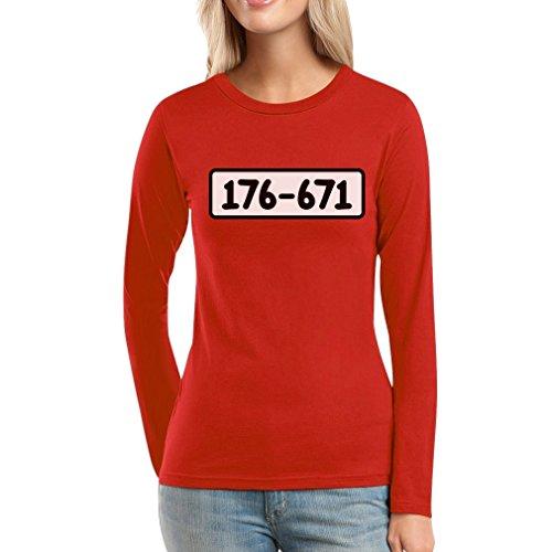 Kostüm Gefängnis Zahlen - Panzerknacker Shirt Kostüm Karneval Fasching Frauen Langarm-T-Shirt X-Large Rot