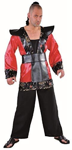 M214274-XL-A rot-schwarz Herren Samurai Schwertkämpfer Japaner Kostüm Anzug Gr.XL=60