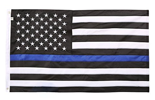 DÜNN Blau Line American Flagge, genäht & bestickt, Nylon, Thin Blue Line, 3 x 5 Feet -