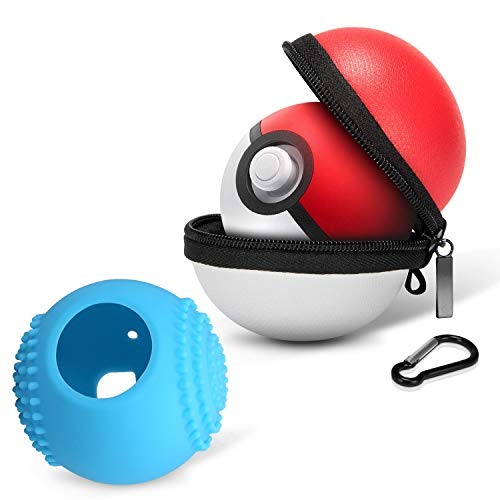 HEYSTOP Carrying Case for Poke Ball Plus, New 2018 Switch Pokeball Protective Case Bag and Cover,Protective Hard Zip Pouch with Keychain Carabiner Belt Clip & Inner Pocket for Neck Strap -