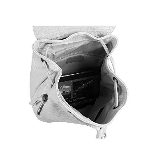 OBC MADE IN ITALY DAMEN Echt LEDER RUCKSACK Cityrucksack Lederrucksack Tasche Schultertasche Ledertasche Stadtrucksack Handtasche Daypacks Backpack Schwarz Hellgrau