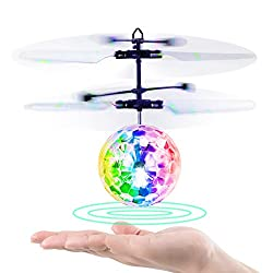 RC Fliegender Ball mit Regenbogenlicht leuchtende LED Lichter und Remote Control für Kinder, Fliegendes Spielzeug für Mädchen und Jungs  1.Baztoy Flying Ball ist ein fantastisches und erstaunliches Spielzeug für kleine Jungen und Mädchen. Es wird auc...