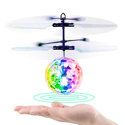 Flying Ball, Baztoy Kids Toys Remote Control Helicopter Mini Drone Magic RC Flying Toys with Shinning LED Lights Fun Gadgets for Boys Girls Kids Teenagers Adults
