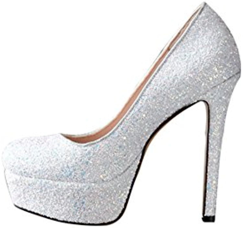XUERUI Escarpins Shallow Cristal Bouche Chaussures Paillettes Cristal Shallow Ultra Chaussures à Talons Hauts avec Plateforme...B07DWBL61BParent 529030