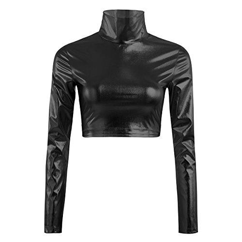 YiZYiF Metallic Flüssigkeit Mock Neck Pullover mit Stehkragen Langarm Crop Top Damen T-Shirt Clubwear Sexy Gr. S-XL A - Schwarz X-Large