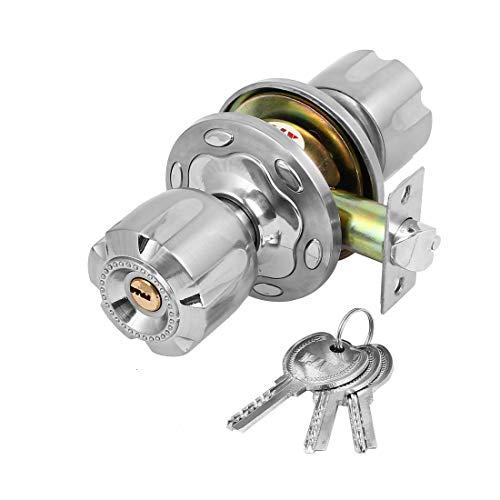 Keyed Lock-set (ZCHXD Ball Privacy Keyed Entry Door Knob Lock Sets with Three Keyed Knobset Stainless Brushed)