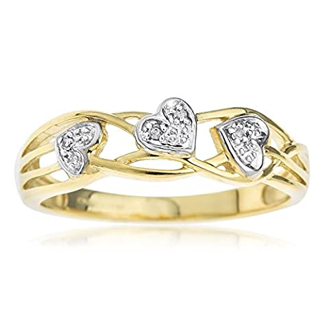 Ornami Glamour 9ct Yellow Gold Ladies' Celtic Style Diamond Set