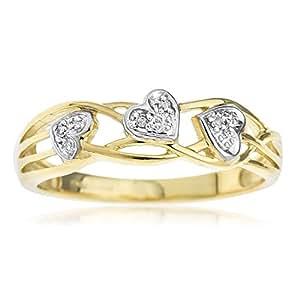 Bague Femme - Or jaune (9 carats) 2.44 Gr - Diamant - T 53