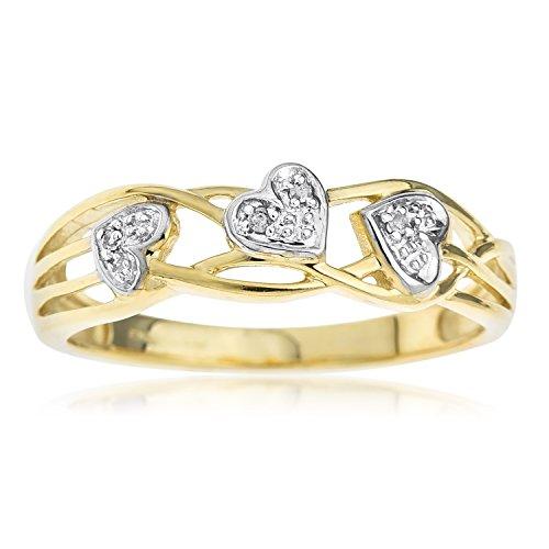 Ornami Glamour RC073DI - Anillo de mujer de oro amarillo (9k) con 4 diamantes (talla: 20.5)
