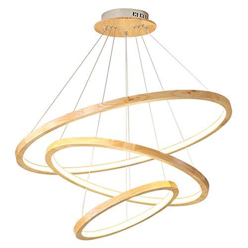 LED Modern Design Pendelleuchte Holz esstisch Hängeleuchte Kronleuchter Höheverstellbar 90W 3-Ring Runde Pendellampe Hängelampe Acryl Lampenschirm für Wohzimmer, Esszimmer, Treppenleuchte, Ø70CM