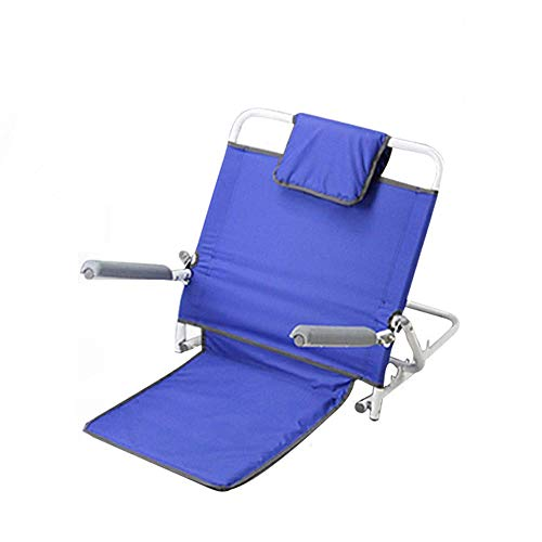 Candyana Verstellbar mit Armlehne Rückenlehne Bett tragbar Faltbare Edelstahlrohr und atmungsaktivem Stoff Stützstuhl