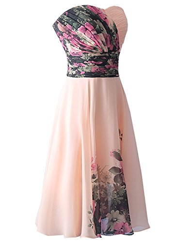 Azbro Women's Strapless Floral Printed Short Cocktail Dress Ligth Pink