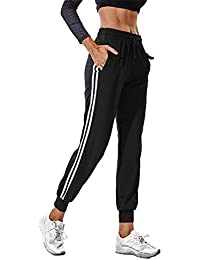 FITTOO Women Casual Two Stripe Sweatpants Tapered Leg Jogger Athletic  Training Sweat Track Pants 61913525b50