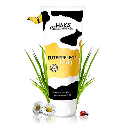 HAKA Euterpflege leicht I 200 ml Feuchtigkeitscreme für raue, strapazierte Haut I Sanfte Pflegecreme für trockene Hände und beanspruchte Haut I Ohne Parfum