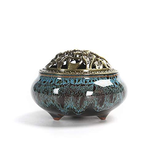 Keramik Räuchergefäß Porzellan Räucherkegel Joss Stick-Halterung, Keramik, ash Catcher Tablett, geeignet für Home Entspannen, auch für Büro konzentrieren Free Size Kiln-blue - Ash Catcher