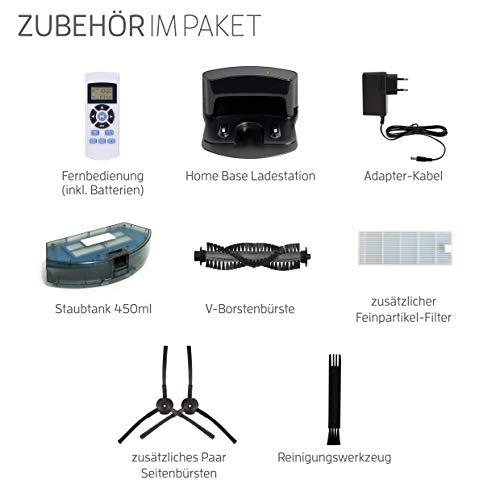 Saugroboter ILIFE A4s automatischer Staubsauger Roboter | Borstenbürste für kurzflorigen Teppich | leiser Betrieb über 2 Stunden staubsaugen | Fallschutz | Beutellos | Staubtank 450ml | Ladestation - 8