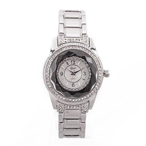 Yaki Crystal Luxus Damenuhren Markenuhren Strass Silber Analog Quarz Edelstahl Damen Armband Uhr