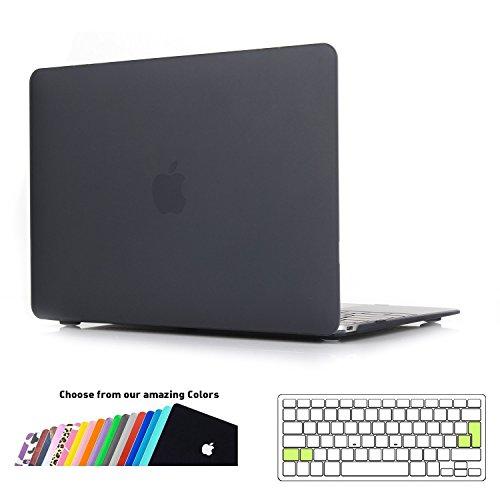 custodia macbook 12 pollici,ineseon plastica cover rigida duro case shell e eu versione trasparente tastiera copertina per apple macbook 12 retina display modello: a1534(nero)