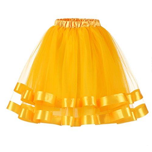 Ellames Damen 1950er Jahre Vintage Tutu Petticoat Rock Prom Abend Gelegenheit Zubehör Gold S/M (Kinder Rock And Roll Tanz Kostüme)