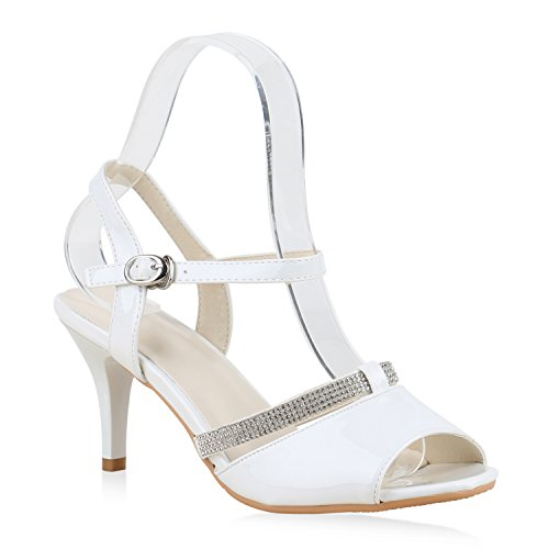 Damen Sandaletten Glitzer | Riemchensandaletten Lack | Party Schuhe Metallic | Stiletto Sandalen Strass Weiss Avion
