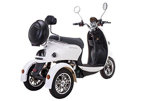 Elegante escúter eléctrico tipo triciclo recreativo, 60 V, 100 Ah, 500 W, hasta 20 mph, de Ztech®, Unisex, blanco