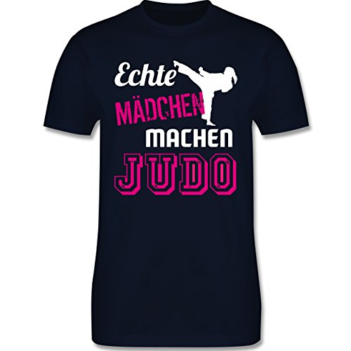 Kampfsport - Echte Mädchen Machen Judo - L - Navy Blau - L190 - Herren T-Shirt Rundhals