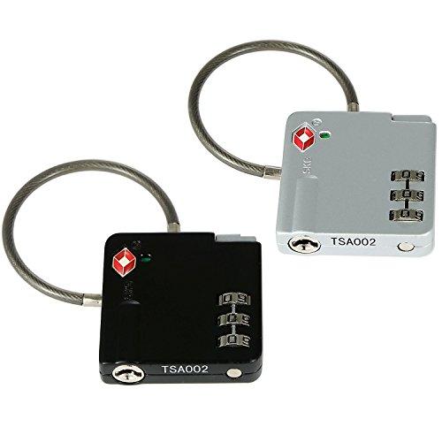 2 TSA Reiseschlösser Gepäckschlösser mit starkem Stahldraht-Bügel in der Farbe Schwarz und Silber