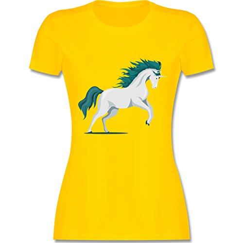 Shirtracer Einhörner - Steigendes Einhorn - Damen T-Shirt Rundhals Gelb