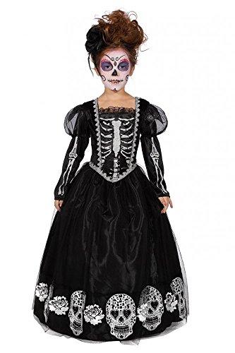 Kinderkostüm Tag des Todes Kleid mit Sugar Skull Totenköpfen und Skelett für Mädchen , Kindergröße:140