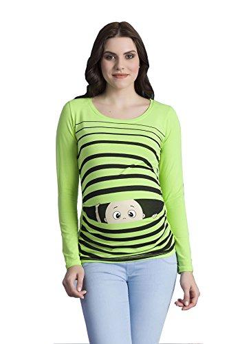 M.M.C. Peek a Boo - Lustiges Witziges Süßes Umstandsshirt mit Guck-Guck Motiv für Die Schwangerschaft/Umstandsmode/Schwangerschaftsshirt, Langarm Hellgrün