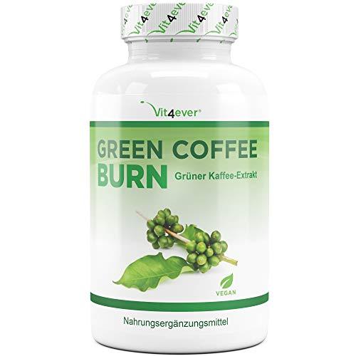 Green Coffee Bean Burn - 50% GCA - 180 Kapseln - Extra stark - Hochdosierter Grüner Kaffee Bohnen Extrakt - Natürliche Ergänzung während der Diät & Gewichtsreduktion - Vegan - Vit4ever