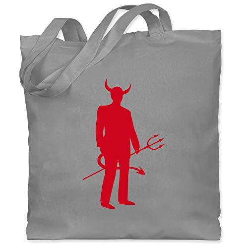 Shirtracer Halloween - Teufel - Unisize - Hellgrau - WM101 - Stoffbeutel aus Baumwolle Jutebeutel lange - Teufel Kostüm Männer Ideen