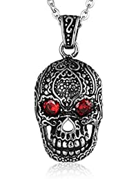 0ffdaf7aea1 Coniea Pendentif Homme Inoxydable Crâne Yeux Rouges Homme Collier Argent
