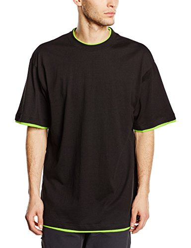 Urban Classics TB029A Herren T-shirt Bekleidung Contrast , Black/Green