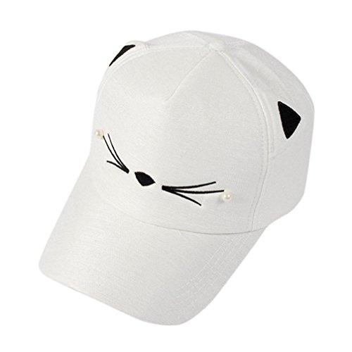 Bellelove Spring Fashion Gezeiten Pearl Wild Cute Student Katze Ohren Visor Baseball Cap (Weiß)