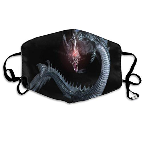 Vbnbvn Mundmaske,Wiederverwendbar Anti Staub Schutzhülle, Dustproof Washable Reusable Dragon 3D Black Mouth Cover Mask Respirator Germ Protective Safety Warm Windproof Mask -