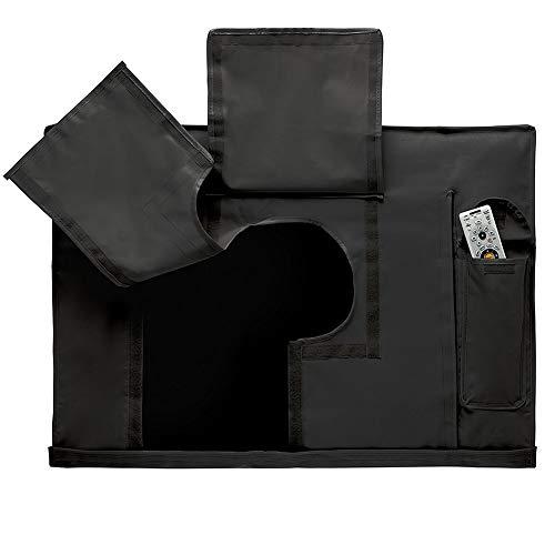 HYDT Möbelsets Outdoor-TV-Abdeckung, schwarzer wasserdichter Universalschutz für die meisten LCD- und LED-Geräte, integrierte Aufbewahrungstasche für die Fernbedienung (Size : 36-38 inch) (Tv 36 Led Zoll)