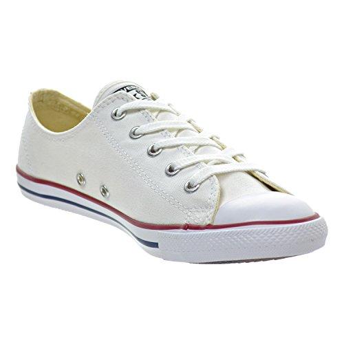 Damen Converse Dainty Ox Chuck Taylor All Star Schnüren Turnschuhe Weiß (Blanc/Rouge)