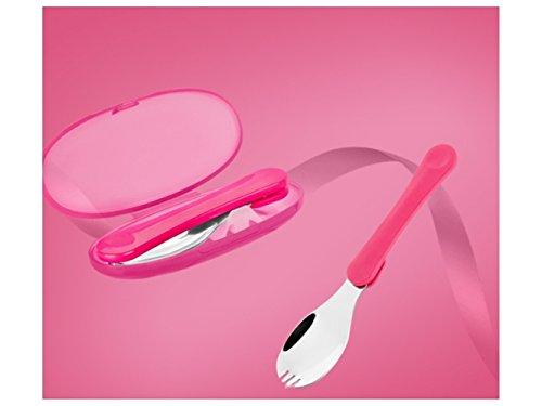 SDCXV Essen Faltendes Edelstahl-Geschirr-Kindergabel für Nahrung oder Frucht (rot)