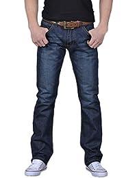 Nuovo da uomo largo dritto jeans regular gamba dritta Fit Basic Loose denim  jeans pantaloni 31 8de9f861b3e3