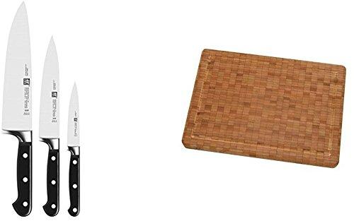 Zwilling Professional S Messer Set mit Passendem Zwilling Schneidebrett aus Bambus
